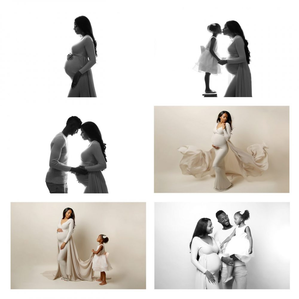 a collage of pictures from a maternity photoshoot