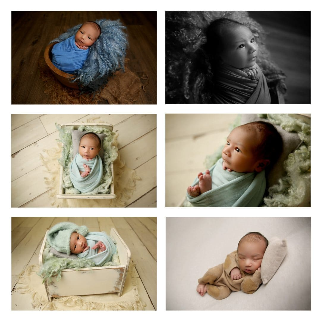 a collage of pictures from a newborn photoshoot, top left picture is a newborn baby boy wrapped in a bright blue scarf while sat in a brown bowl with eyes open, middle left is a bird's-eye view picture of a newborn baby boy wrapped up in a light blue scarf while on it's back with eyes open in a small bed, bottom left picture is a newborn baby boy in a small bed wearing a hat with eyes open, top right black and white picture is a sideview of a newborn baby boy wrapped up with eyes open, middle right is a sideview picture of a newborn baby boy with eyes open wrapped in a light blue scarf, bottom right picture is a newborn baby boy on it's side sleeping on with one hand tucked under his cheek