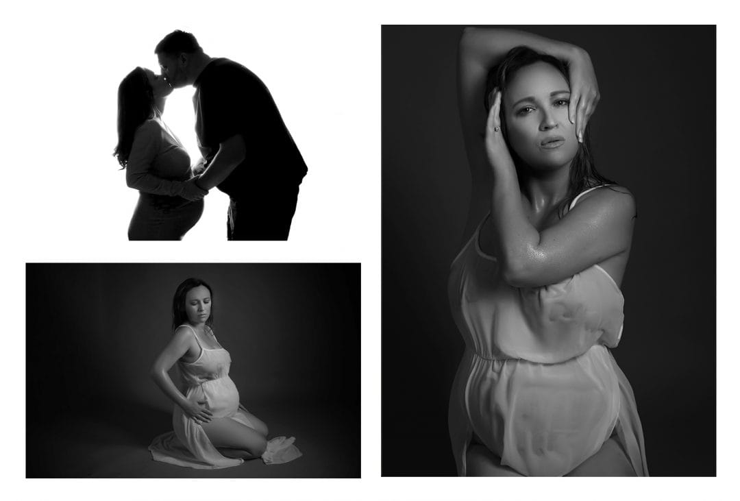 a collage of pictures from a maternity vogue inspired photoshoot, top left picture a silhouette of a pregnant woman kissing her partner, bottom left picture a pregnant woman on her knees looking down while holding the side of her bump, right picture pregnant woman doing a vogue pose