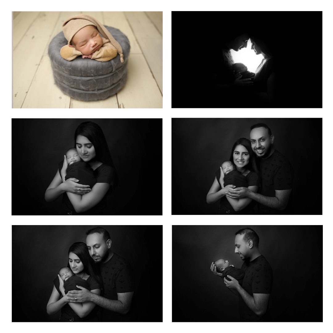 a collage of pictures from a newborn photoshoot, top left picture is a sleeping baby in a woolen basket with hands under chin wearing a hat, middle left black and white picture is a mother with her eyes closed cradling her newborn baby, bottom left black and white picture is a mother and father holding and looking at newborn baby, top right black and white picture is a silhouette of a mother and father holding a newborn baby, middle right black and white picture is mother and father looking at camera smiling while cradling newborn baby, bottom right black and white picture is father holding newborn baby up while gazing lovingly